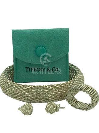 Tiffany and Co., Braided Bracelet, Ring and Earring Set