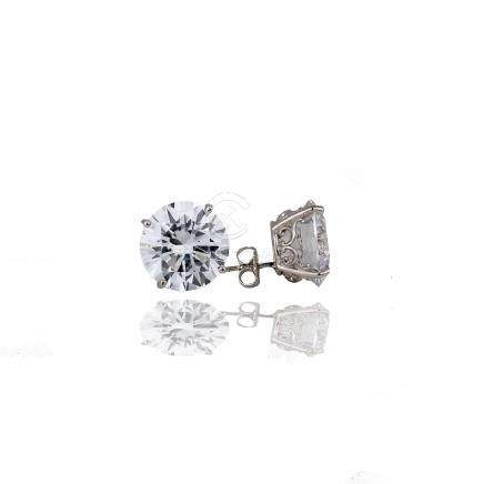 Stud 5 Carat Earrings, 10 TCW- 11 mm 14 Karat White