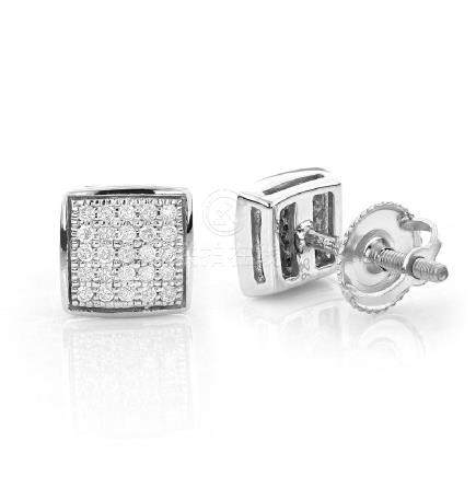 Invisible .50 TCW Diamond Square Earrings