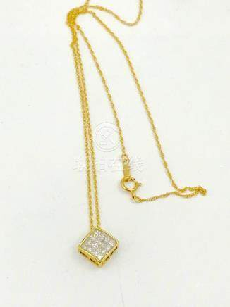 Invisible .50 TCW Diamond Pendant Drop with Chain