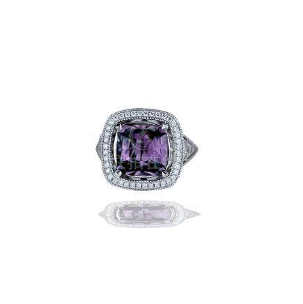 Purple Spinel, 4.77 Ct., White Gold Halo Diamond