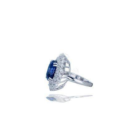 Platinum, 8.26 CT. Sapphire, GIA 1.65 Ct Diamond Ring
