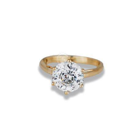 2.65 Ct Round, 14 Karat Yellow gold White Stone