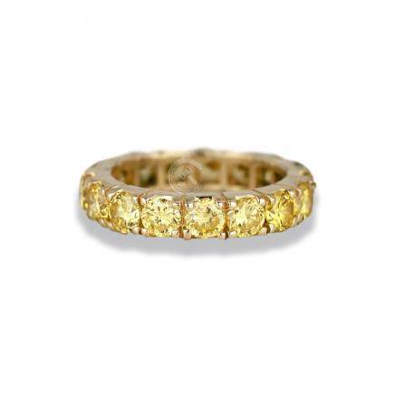 Eternity Band, 14 Karat, Fancy Yellow 3.30 TCW CZ