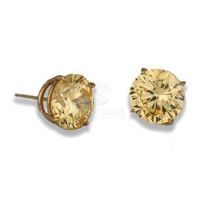 Large, 14 Karat, Fancy Yellow 7 TCW Diamond CZ Stud