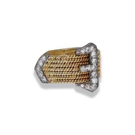 Fashionable, Buckle ½ CT. Diamond, 14 karat Ring