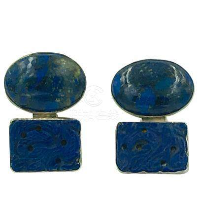 Rebecca Collins, Carved Lapis Lazuli Sterling Earrings