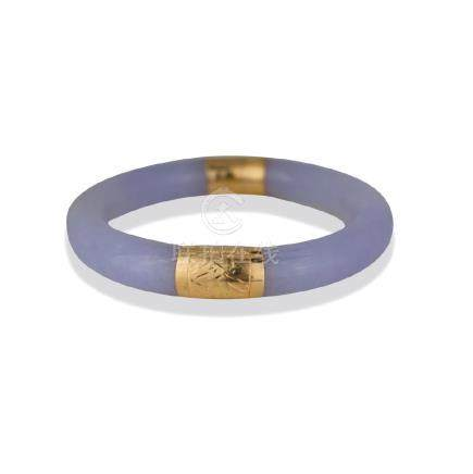 Lavender Jade, 14 Kt. Gold Bangle Bracelet<