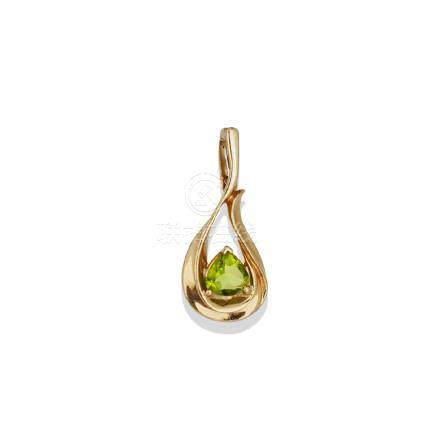 Trillion Cut, Peridot Pendant Enhancer, 14 karat