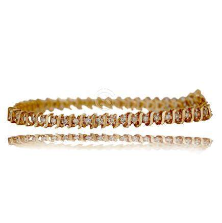 Yellow gold Tennis Bracelet, 1.50 CTW, Channel