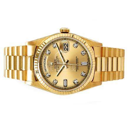 President Day-Date, Rolex with diamond dial, 18 karat