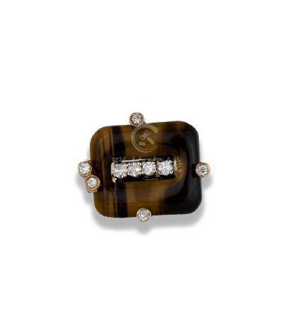 Tiger Eye, .45 Carat Diamond Contemporary Ring