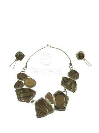 Tribal Set, Mineral Necklace, Earring Sterling Silver,