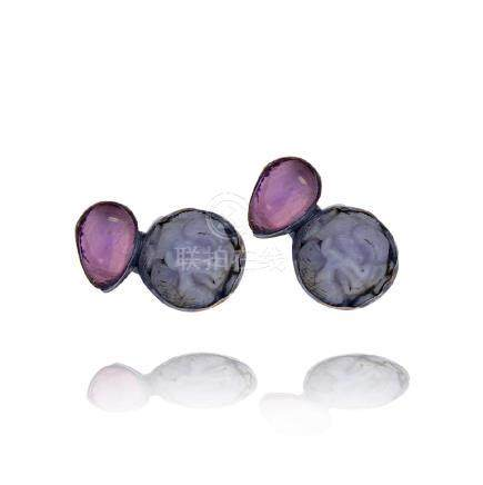 Rebecca Collins, Amethyst, Sterling Clip on Earrings