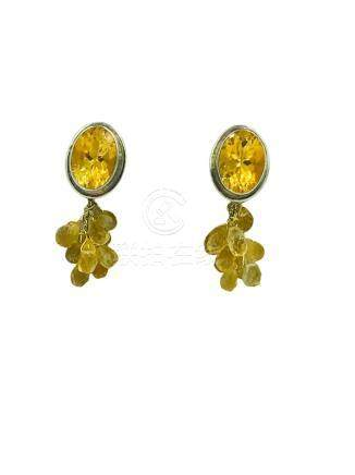 Rebecca Collins, Citrine, Sterling Clip on Earrings