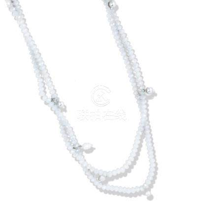 Crystal, 40-inch strand, Beads with Sterling,