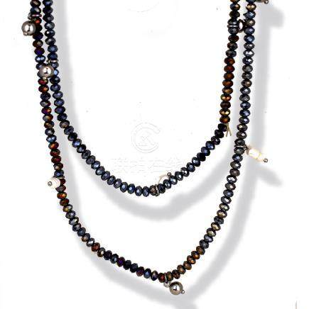Amethyst, 40 inch strand, Beads with Sterling and