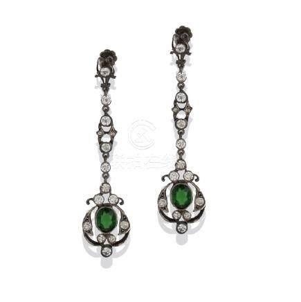 Victorian, 1870's Green Stone, Dangling Earrings,