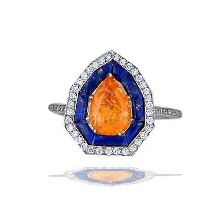 Art Deco, Orange Spessartite, French-Cut Lapis and
