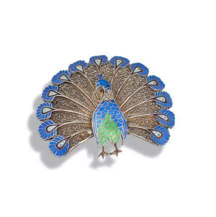 Sterling Silver, Enameled Vintage, 2 Inch Peacock Pin