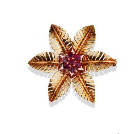 Burmese Ruby, Floral Pin, .70 TCW Exceptional Quality,