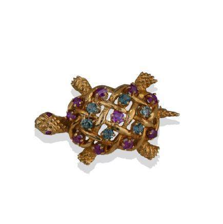 Aquamarine and Ruby, Turtle Pin, 1.60 TCW Gems, Yellow