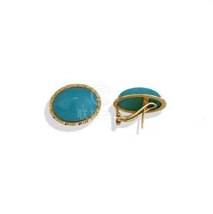 Cabochon Turquoise Bezel Earrings, Gold Omega Backs