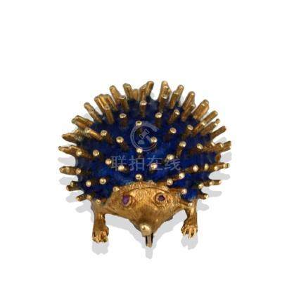 Royal Blue Enameled, Hedgehog Ruby Pin, Hallmarked, CG,
