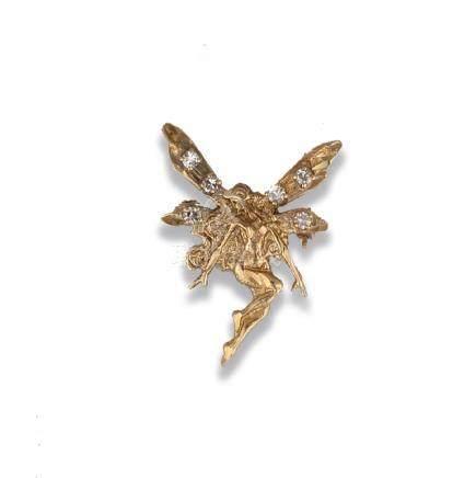 14 karat Diamond Fairy Pin or Pendant, .18 Carat
