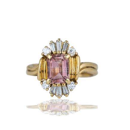 Pink Topaz, 1.70 TCW Princess Diamond Ring