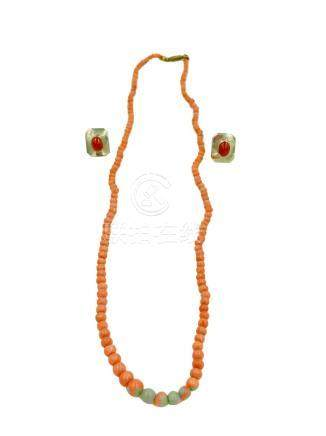 Coral Necklace and Inca Peru Earrings to Match