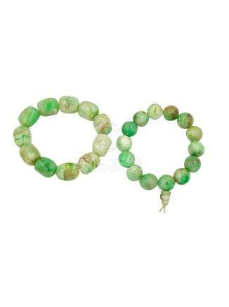 Set of Chinese Prayer Beads, Green Faceted Chrysoprase,