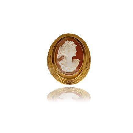 Cameo Pin, Yellow Gold, Circa 1860