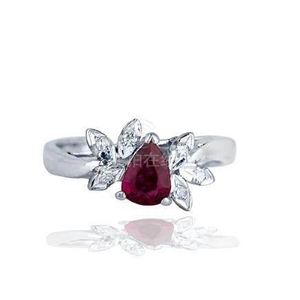 18 karat, Ruby-Diamond, 1.31 TCW Ring