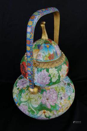 CHINESE COPPER CLOISONNE GOURD HU WITH HANDLE
