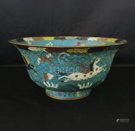 CHINESE QING DYNASTY CLOISONNE BOWL