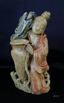 Rare Chinese ShouShan stone carved incense holder