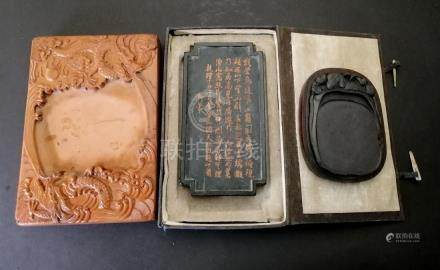 THREE PIECES OF CHINESE INKSTONES AND INK STICK