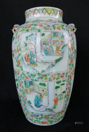 CHINESE QING DYNASTY ROSE FAMILLE VASE