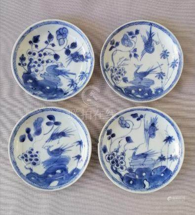 FOUR CHINESE 18TH C. BLUE AND WHITE DISHES