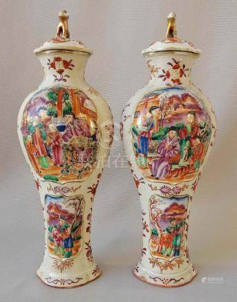 PAIR SUPERB CHINESE QING ROSE FAMILLE LIDDED VASES