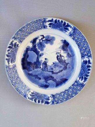 CHINESE MING-QING DYNASTY BLUE AND WHITE PLATE
