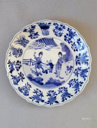 CHINESE QING KANG XI PERIOD BLUE AND WHITE PLATE