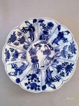 CHINESE KANG XI BLUE AND WHITE FLOWER MOUTH PLATE