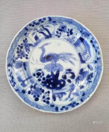 A CHINESE 18th C. BLUE AND WHITE PLATE