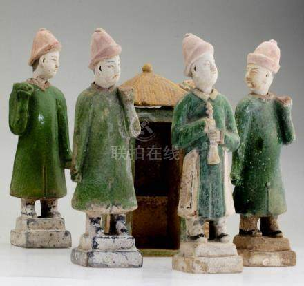 Five Chinese Ming Dynasty Figures and a Sedan