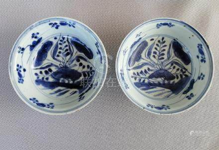 TWO CHINESE MING DYANSTY BLUE AND WHITE BOWLS