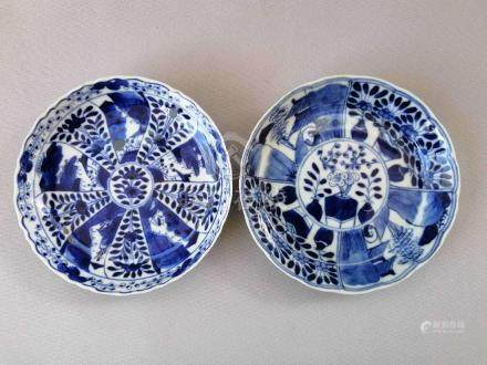 TWO CHINESE QING KANG XI BLUE AND WHITE PLATES