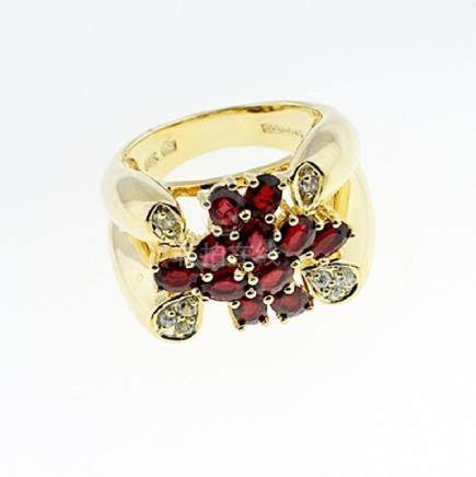 SILVER RING WITH RED SAPPHIRE AND WHITE TOPAZ