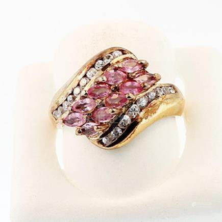 SILVER RING WITH PINK SAPPHIRE AND WHITE TOPAZ